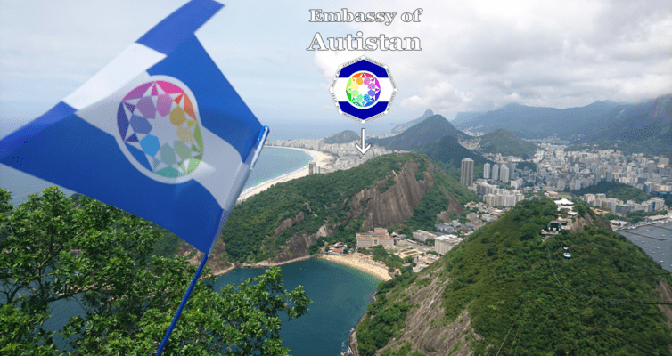 The Flag of the Autistan over Rio de Janeiro (from the Sugar Loaf)